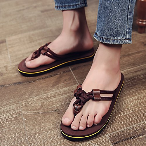fankou Summer Sandals Men's Men's Field and Trendy Clip Pin Personalized Couples Large Code Beach Slippers,42, Dark Brown (m)