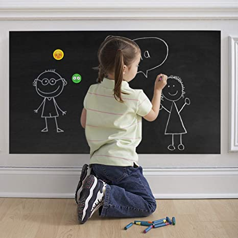 Self Adhesive Chalkboard Wall Sticker, Magnetic Receptive Blackboard Thick Contact Paper with Chalks, Peel and Stick Chalknetic Chalkboard Roll for ...