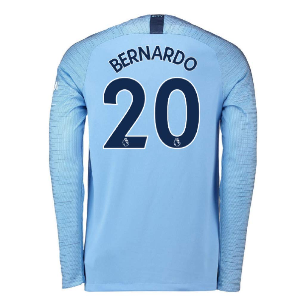 2018-2019 Man City Home Nike Long Sleeve Football Soccer T-Shirt Trikot (Bernardo Silva 20)