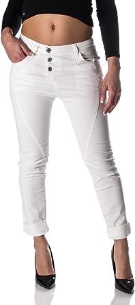 Jeans Donna Please P78 Cavallo Basso Buggy Boyfriend Con Bottoni Blu Denim