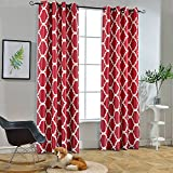 red and gray curtains - Melodieux Moroccan Fashion Room Darkening Blackout Grommet Top Curtains, 52 by 84 Inch, Red (1 Panel)