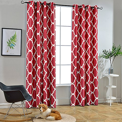 (Melodieux Moroccan Fashion Room Darkening Blackout Grommet Top Curtains, 52 by 96 Inch, Red (1)