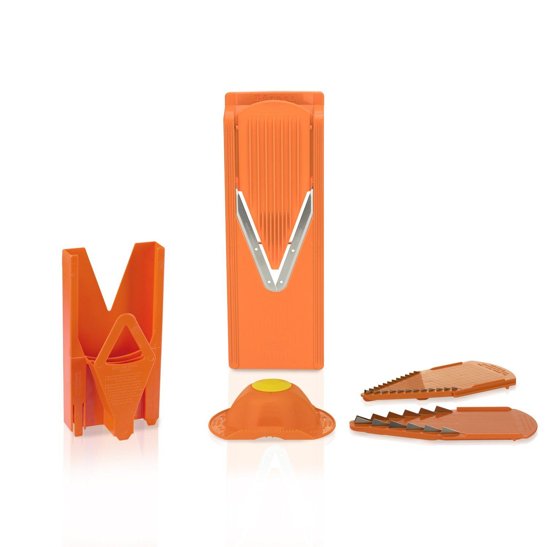 Original Borner V3 TrendLine fruit- and vegetable slicer (including slide insert and blade inserts 3,5mm and 7mm) with safety food holder and multi-box for storage. (Orange)