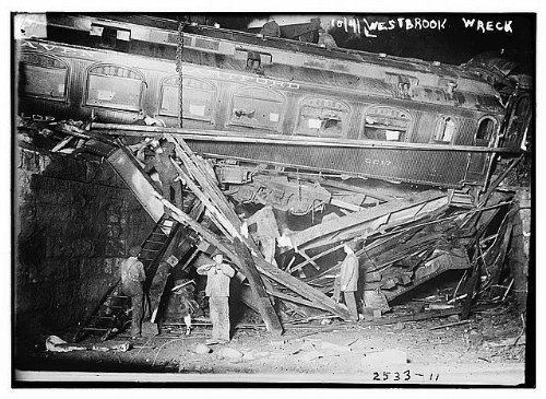 Photo: Westbrook Train Wreck,disaster,RR,locomotive,people,1910-1915