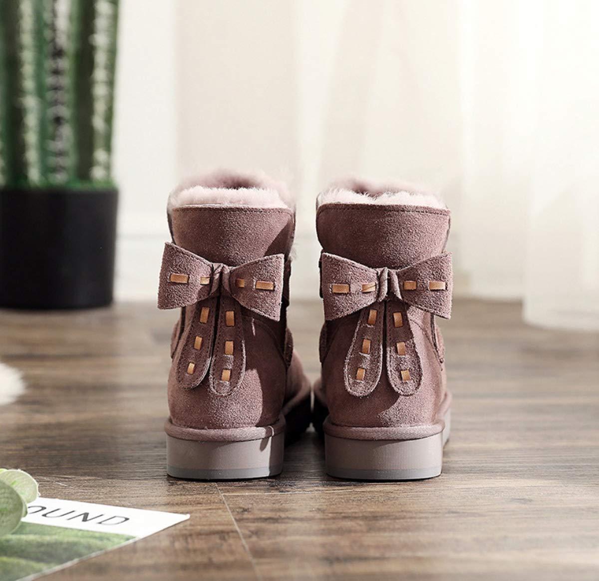 DANDANJIE DANDANJIE DANDANJIE damen Stiefel mit flachen Ferse Nette Bow-Knoten Schneeschuhe für 2018 Winter warm halten Rutschfeste Stiefeletten 50b02e