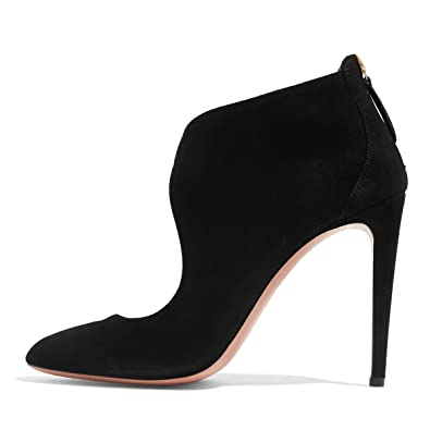 8c1c31b691b FSJ Women Stylish High Heel Pumps Round Toe Faux Suede Stilettos Cut Out  Zipper Shoes Size