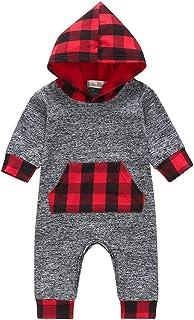 Jimmackey Neonato Plaid con Cappuccio Pagliaccetto Manica Lunga Splice Tutine Body Vestiti, da 0 A 24 Mesi Bambino