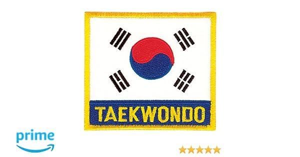 USA Korea Flag patch gold karate tang soo do tae kwondo