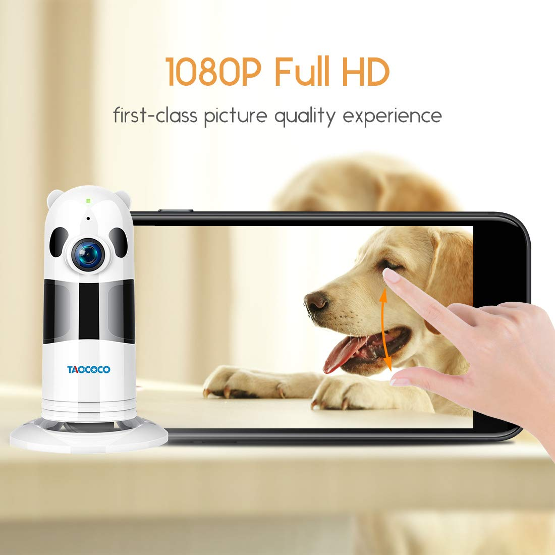 TAOCOCO Pet Camera, Dog Camera 1080P HD Pet Monitor WiFi IP Camera Surveillance Home Baby Camera for Elder Animal Baby with HD Night Vision, Motion Detection,Two Way Talking