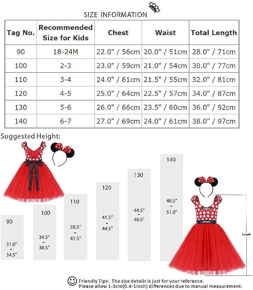 IWEMEK Deguisement Minnie Robe Tutu a Pois Princesse Robe danniversaire B/éb/és Filles Robe de No/ël C/ér/émonie Anniversaire Ballet Danse Carnaval Costume avec Serre-t/ête//Bandeau 18 Mois-7 Ans