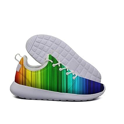 a123826b26f48 Amazon.com: Opr7 Abstract Vintage Rainbow Stripe Lightweight Running ...