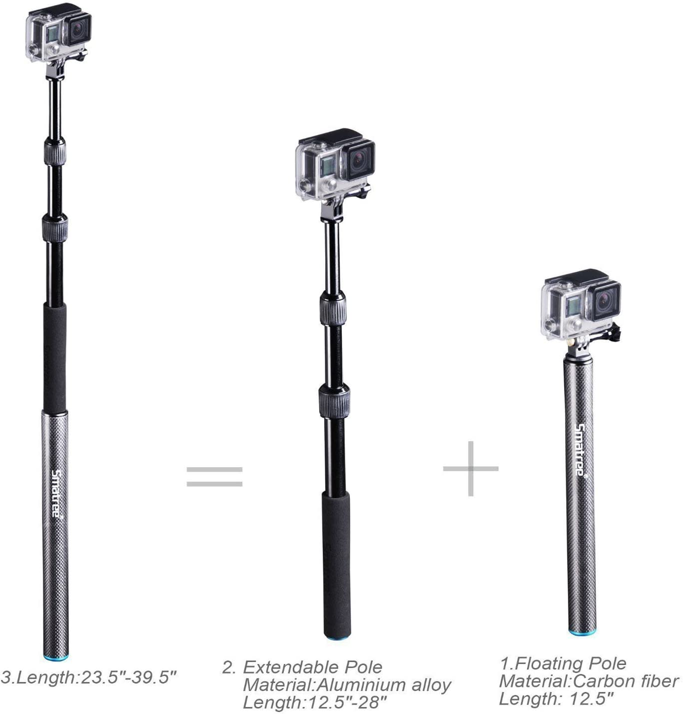 2018 ,Action Cameras,HD Cameras Smatree S3 Detachable Extendable Floating Pole for GoPro Hero Fusion//6//5//4//3+//3//2//1//Session//GOPRO Hero