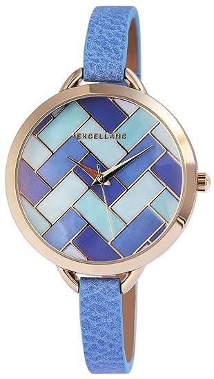 Reloj mujer azul Multicolor Oro de piel mujer reloj de pulsera