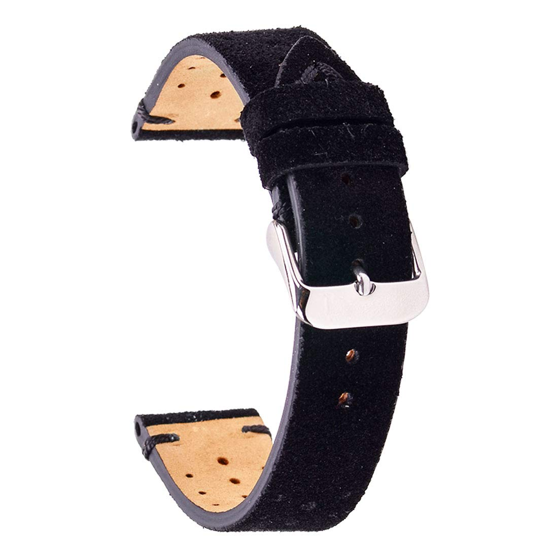 Izasky 18mm 20mm 22mm Watchband - Quick Release Genuine Leather Watchstrap with Stitched Leather Lining Stainless Steel Clasp Buckle (20mm, Black)