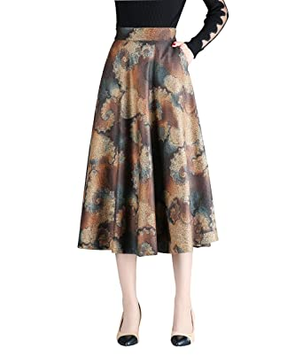 9e1f4f8162638c Damen Vintage Elegante Elastische Taille Drucken Wollrock Herbst Winter  Warm Röcke Mode Hohe Taille Midi Rock