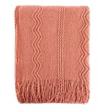 Battilo 100% Acrylic Knit Throw Classic Knitted Throw Blankets for Couch Chair Sofa, 50 x 60 Inch, Soft Warm Lightweight (Salmon)