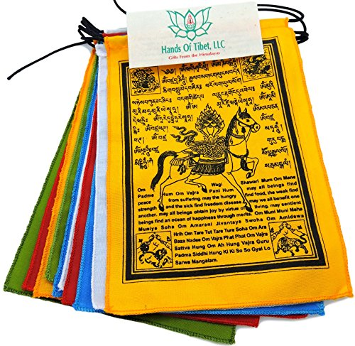 Tibetan Make Flags Prayer (Hands Of Tibet Wind Horse Prayer Flags with English Translation surged Edge hf-1 (6x8))