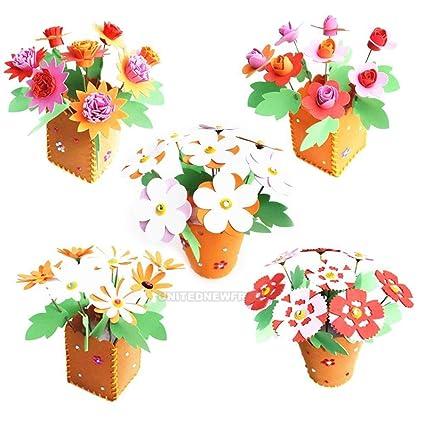 Amazon Com Xeno 3d Handmade Eva Flower Pot Educational Toy Kids Diy