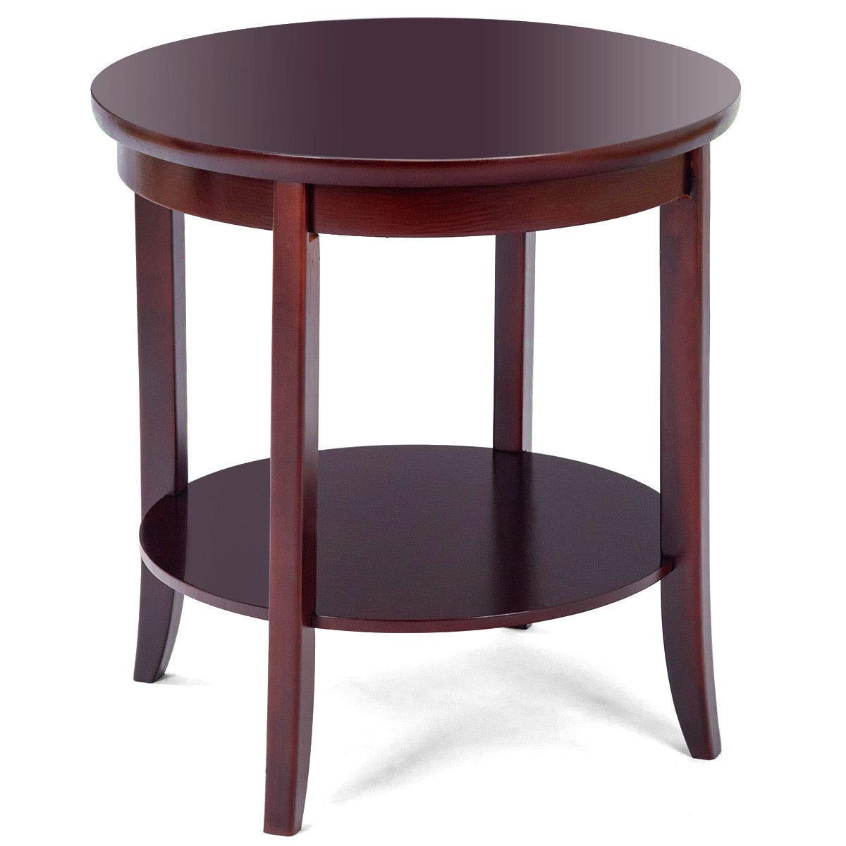 Chairside end table wood round with storage shelf dark cherry sofa couch side tv snack accent table tray furniture for dorm living room home office e book