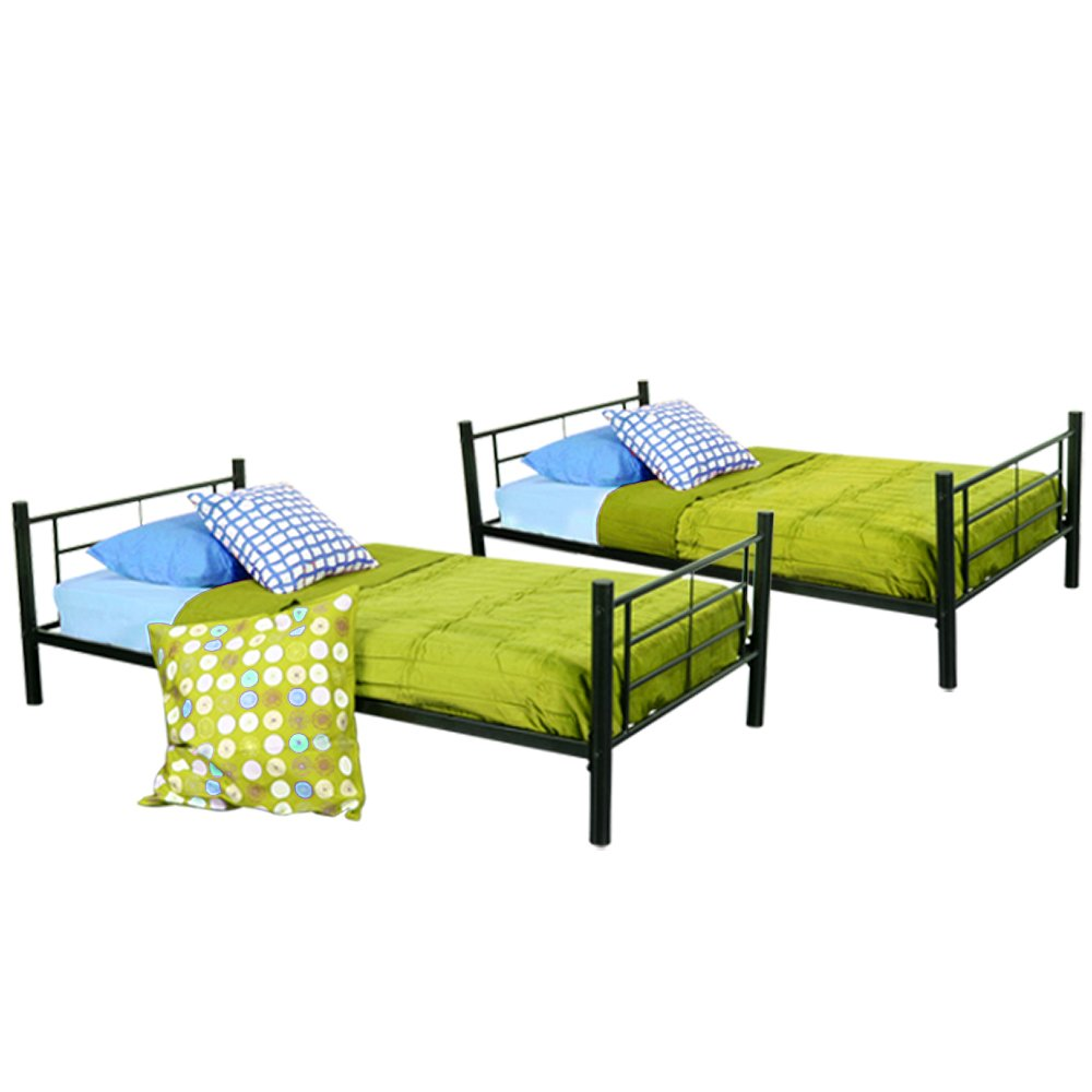 Sturdy Metal Twin-over-Twin Bunk Bed in Black Finish by Home Accent Furnishings (Image #7)