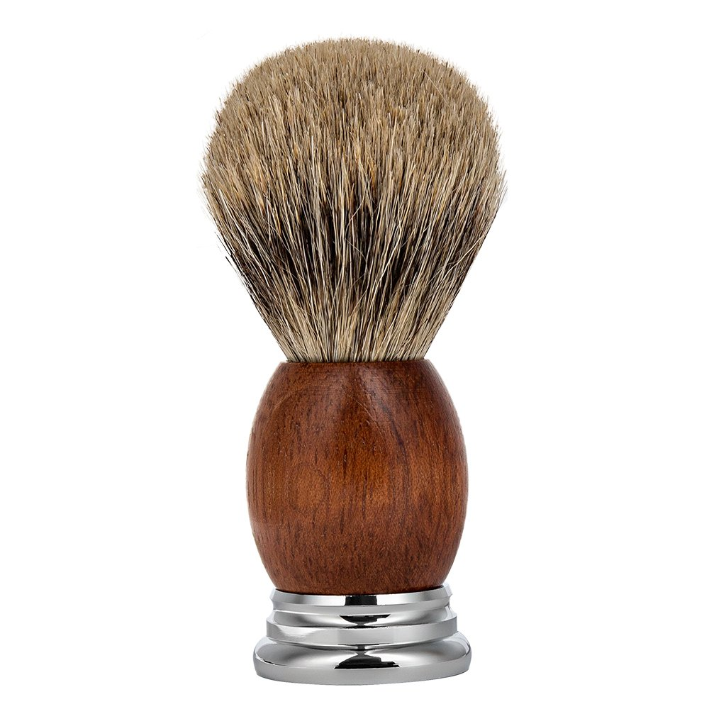 CHARMMAN Best Badger Hair Bristles Shaving Brush, Premium Natural Red Pear Wood Handle+Heavy Duty Alloy Base, Deluxe Package