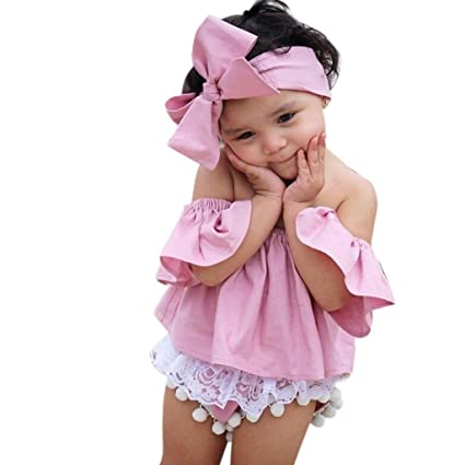 4c9a0244e Vicbovo Cute Baby Girls Toddler Off Shoulder Ruffles Tops + Bowknot  Headband 2pcs Summer Clothes Set