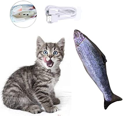 Perfect for Biting Petyoung Cat Catnip Toys Simulation Electric Doll Fish,Realistic Plush Interactive Pets Chew Bite Supplies for Cat//Kitty//Kitten Fish Flop Cat Toy Chewing and Kicking
