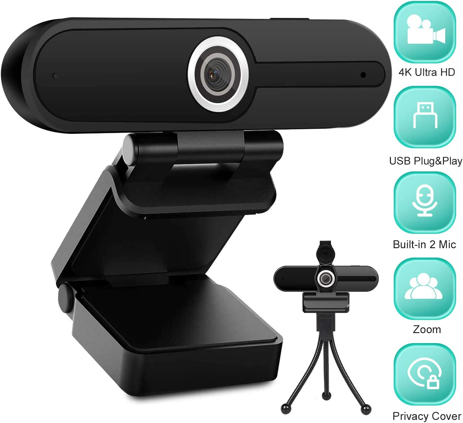 4K HD Webcam with Microphone, 8MP USB Computer Web Camera With Privacy Shutter and Tripod, Pro Streaming Webcam PC Cam Mac Desktop Laptop for Gaming Video Recording Calling Conferencing Online Classes