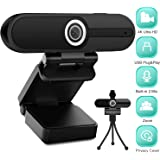 4K HD Webcam with Microphone, 8MP USB Computer Web Camera With Privacy Shutter and Tripod, Pro Streaming Webcam PC Cam…