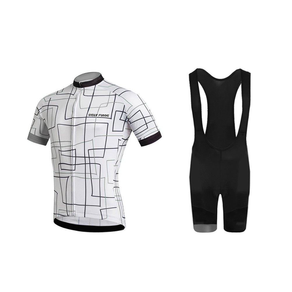 Uglyfrog Wear Herren Radtrikot Kurzarm Atmungsaktiv Fahrradtrikot Full Reißverschluss Schnell Trocken Radsport MTB Fitness Jersey Rückentaschen
