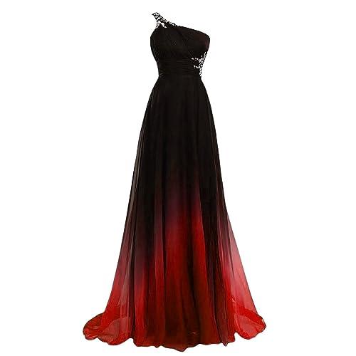 YipGrace Mujeres Color Del Gradiente Vestido De Bola Con Cuentas XL Rojo