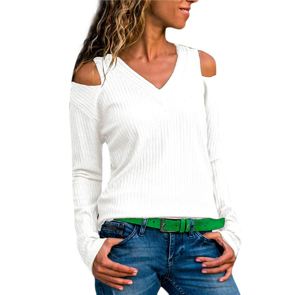 JOYXIA Women Pure Color V-Neck Casual Top T Shirt Ladies Sweater Long Sleeve Blouse Slim Tunic Tops