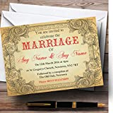 Typography Vintage Red Postcard Personalized Evening Reception Invitations
