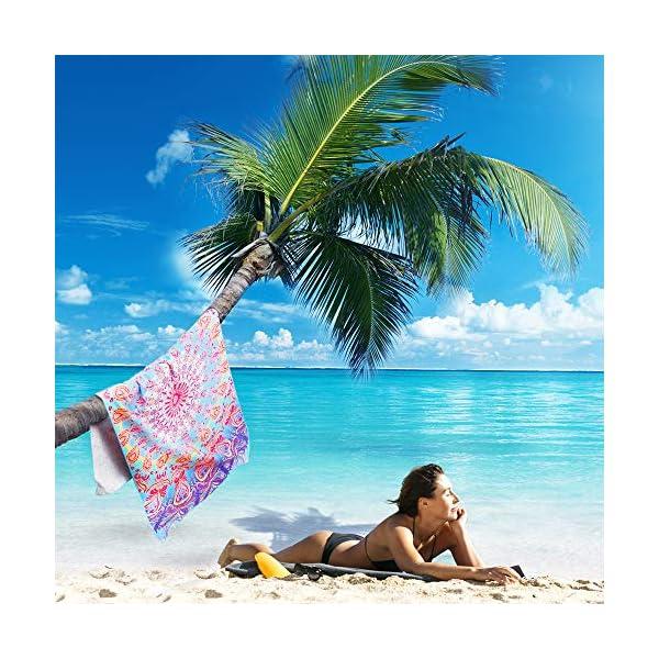 AtailorBird Telo Mare Grande Asciugamano da Spiaggia in Microfibra 150 * 75cm Bohemian Mandala Leggero Tasca Altamente… 3 spesavip