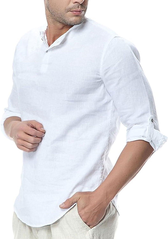 Najia Symbol Camiseta Henley Vintage de 100% Lino Hombre sin ...