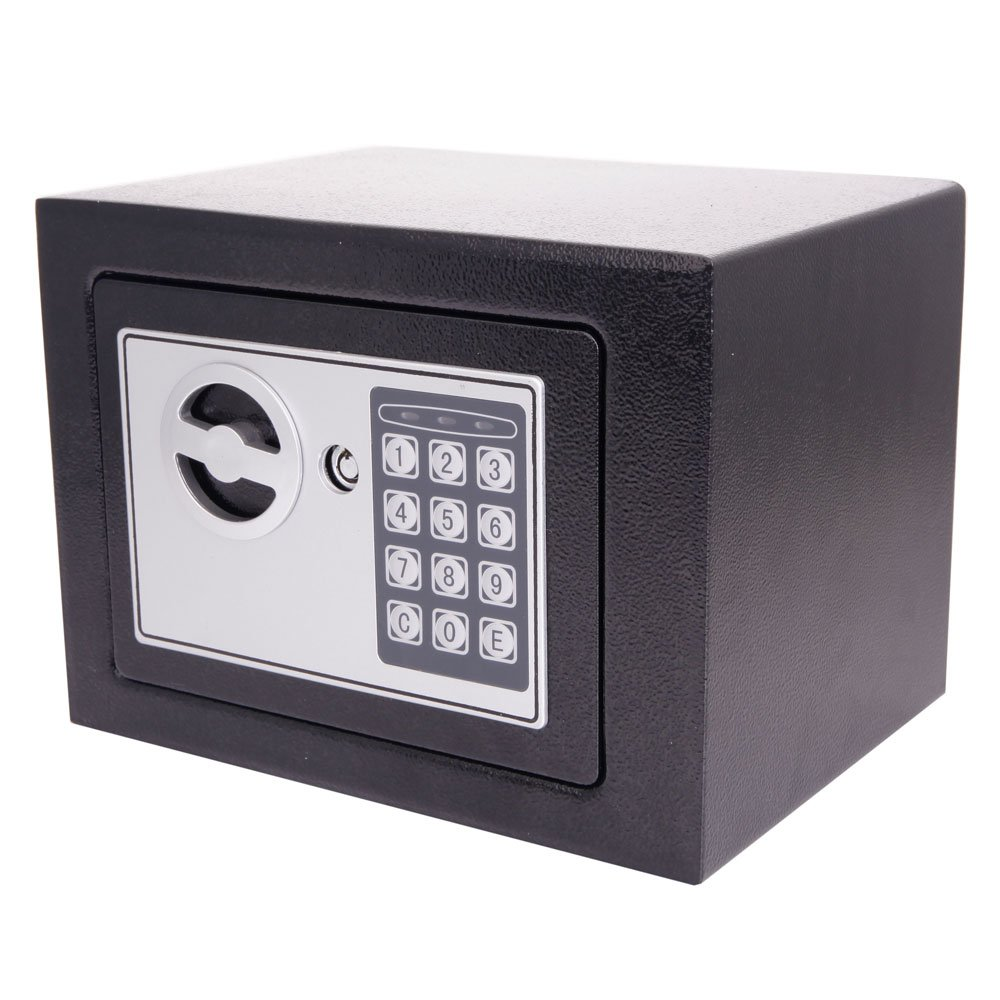 Mefeir 0.22 CF Electronic Digital Security Safe Box Keypad Lock, Home Office Hotel Business Jewelry Gun Cash Use Mini Cabinet Storage,Solid Steel with 4 Test Batteries