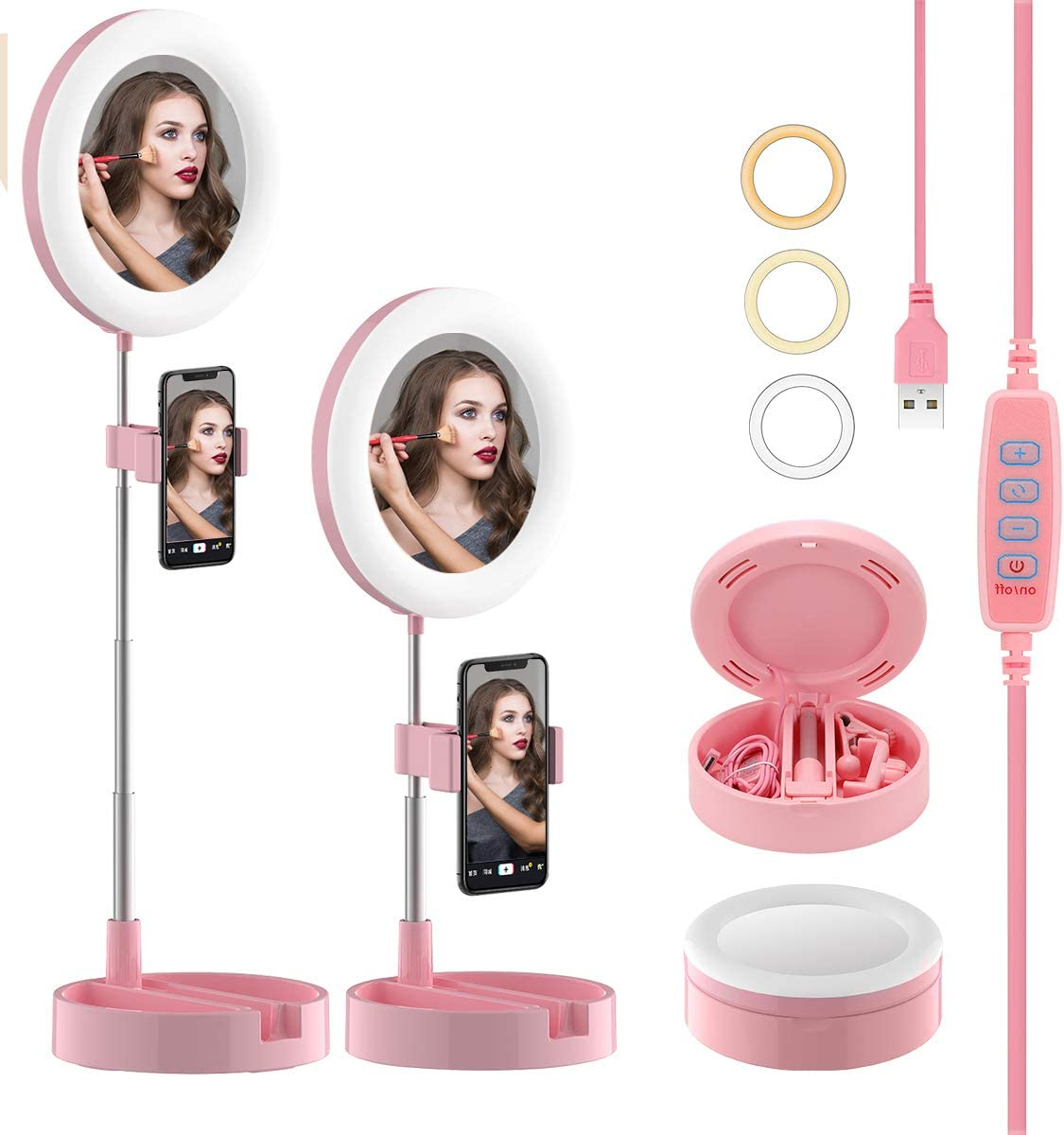 Makeup Mirror Small Selfie Ring Light 3 Light Modes /& 10 Brightness Level for Video Recording//Beauty//Live Video led Desktop Ring Light with Stand and Cell Phone Holder 6.5 inch with Storage Box