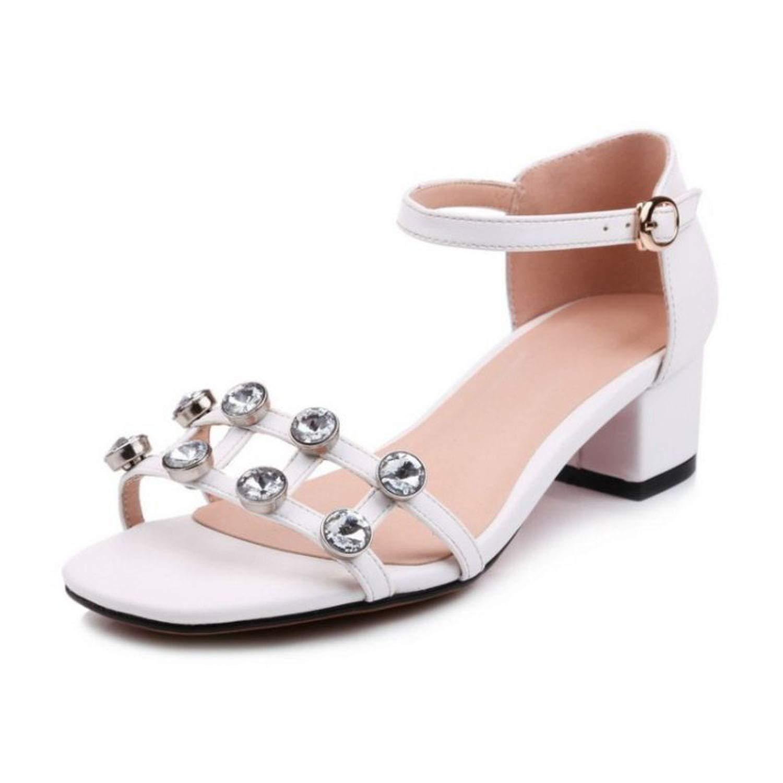 Women High Heel Sandals Square Toe Crystal Ankle Strap Fashion Women Summer Shoes Wedding Club Footwear,White,7
