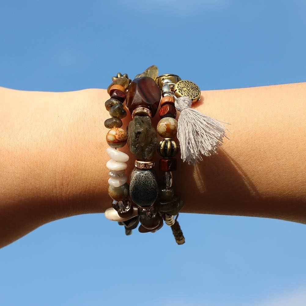 Druzy Boho Charm Chakra Bracelets for Women Handmade Natural Stone Bead Layered Bracelet with Turquoise Amethyst Artilady Beaded Bracelets Wrap Bangle