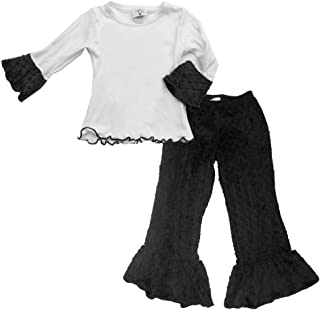 product image for Cheeky Banana Little Girls Minky Dot Ruffle Tee & Pants - 10 Colors
