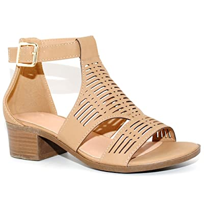 TRENDSup Collection Women's Open Cutout Stacked Heel Sandal | Sandals