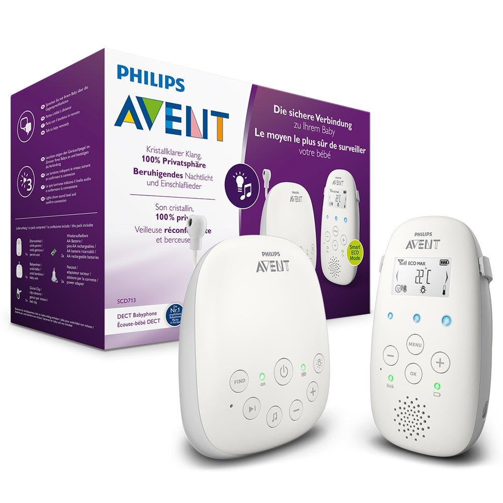 Philips Avent Audio-Babyphone SCD713/26, DECT-Technologie, Eco-Mode, 18 Std. Laufzeit, Gegensprechfunktion, Schlaflieder Philips GmbH - Baby (VSS/FO)