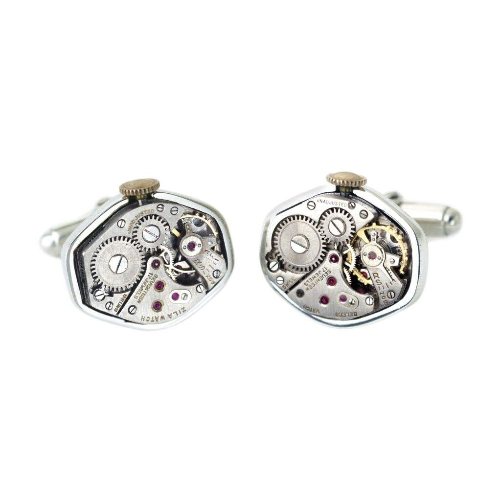 Tokens & Icons Mechanical Watch Movement Silver Settings Cufflinks (55WC)
