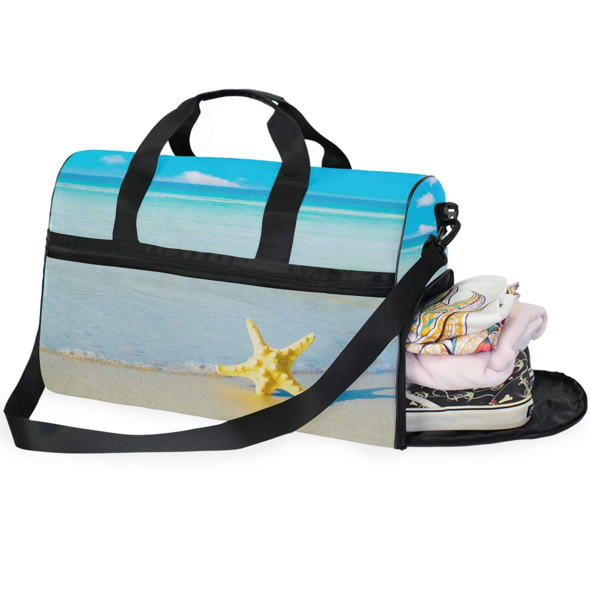 Beach And Starfish Sunset Large Canvas shoulder bag with Shoe Compartment Travel Tote Luggage Weekender Duffle Bag