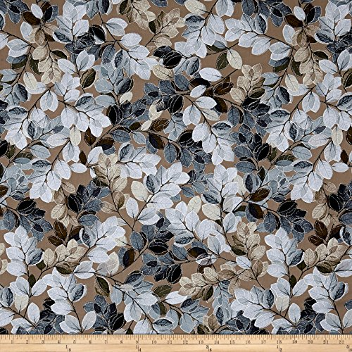 Benartex Kanvas Essence of Pearl Sheer Leaves Brown Metallic Fabric By The Yard