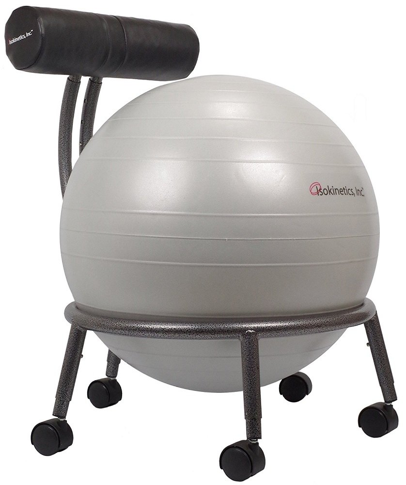 Isokinetics Inc. Brand Adjustable Fitness Ball Chair - Silver Flake on Black Metal Frame Finish - Exclusive: 60mm (2.5'') Wheels - Adjustable Base and Back Height - with Gray 55cm Ball and a Pump