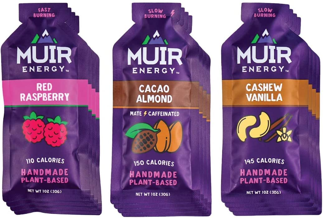 Muir Energy Real Food Energy Gel Variety Pack - 12-Count - Organic Fuel for Endurance Athletes (Red Raspberry/Cacao Almond Mate/Cashew Vanilla)