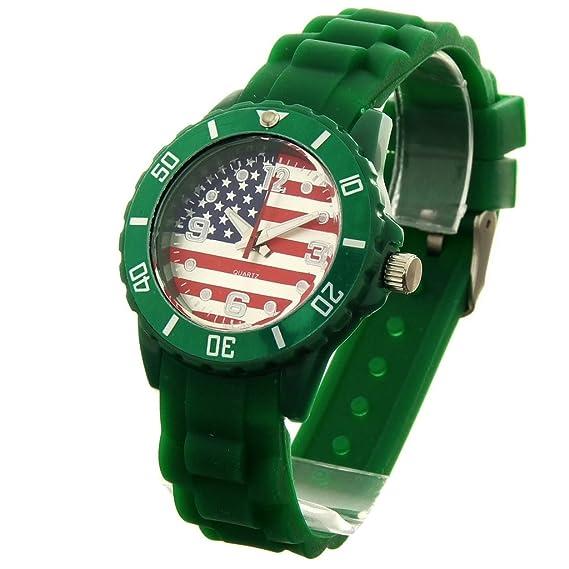 Montre Concept-Reloj de pulsera analógico para mujer/niño silicona verde-redondo con fondo de bandera americana-marca Bellos-0721-USA, color verde: ...