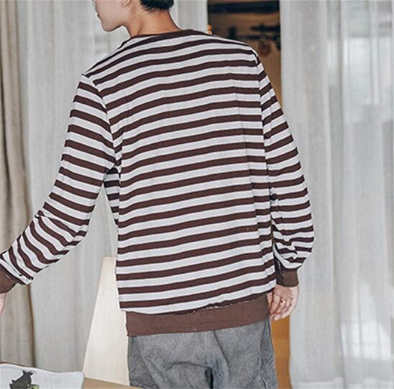 Cromoncent Mens Pullover Striped Crewneck Loose Fit Sweatshirts Jacket