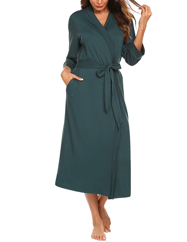 Unibelle Damen Morgenmantel aus Baumwolle 3//4 /Ärmeln Bademantel Nachtw/äsche Kimono Saunamantel mit Tiefer V-Ausschnitt Schlafanzug S-XXL
